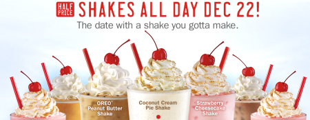 50% Off Shakes @ Sonic (12/22 Only)