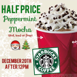 Starbucks Half Price Peppermint Mocha Drinks 12-20-14