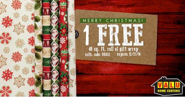 d268FREE Roll of Gift Wrap at Valu Home Centers Free Roll of Gift Wrap @ Valu Home Centers