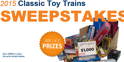 Classic Toy Trains 2015 Sweepstakes